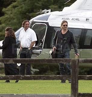 Brad Pitt Arrives by Helicopter in Richmond Pictures