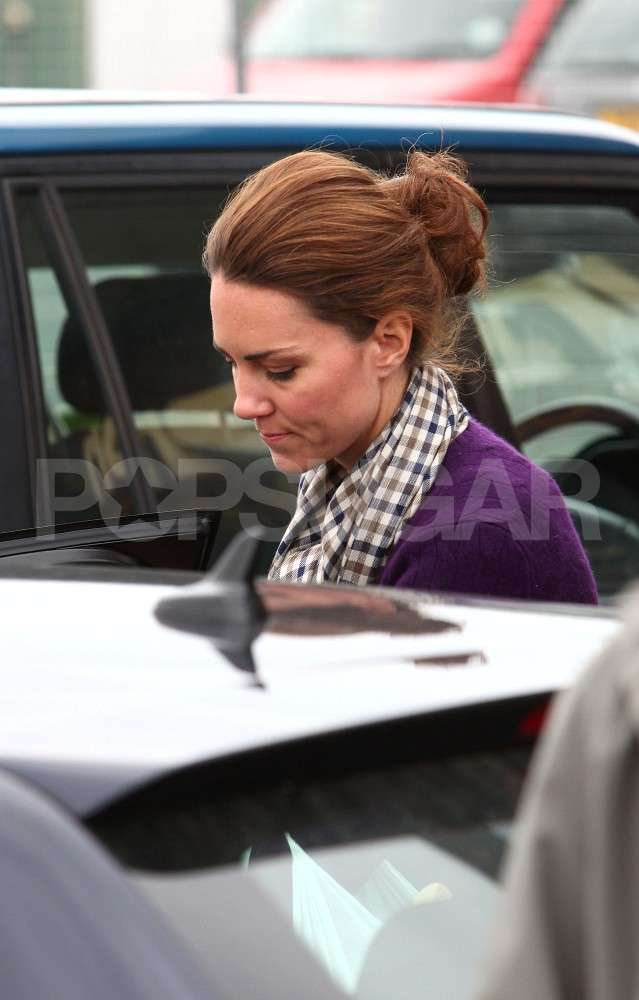 Kate was solo for her day out.