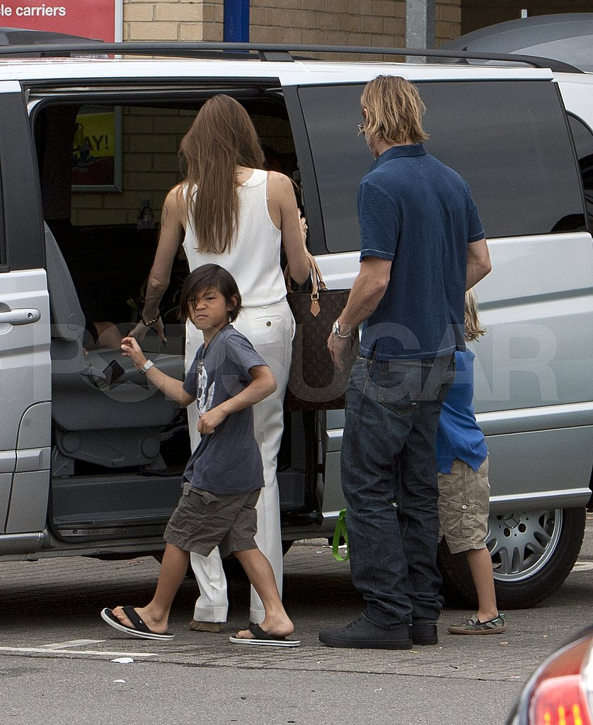 Brad and Angelina Have a Saturday Shopping Trip With Their Kids in London