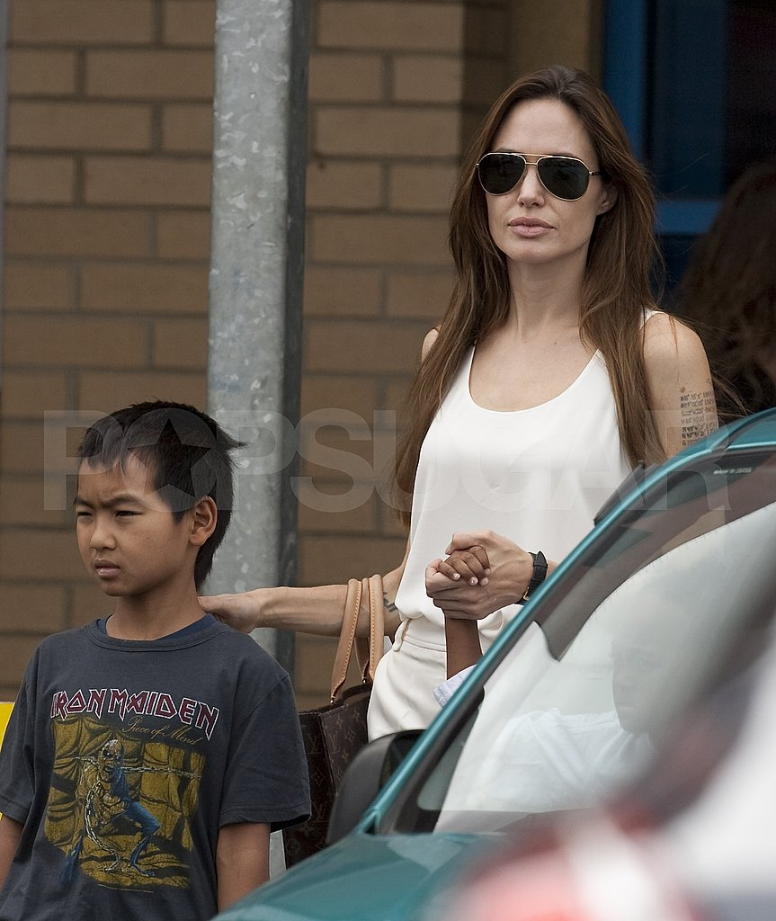 Angelina Jolie with son Maddox.