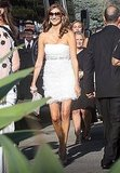 Heather McDonald arrives in white to Kim Kardashian's wedding.