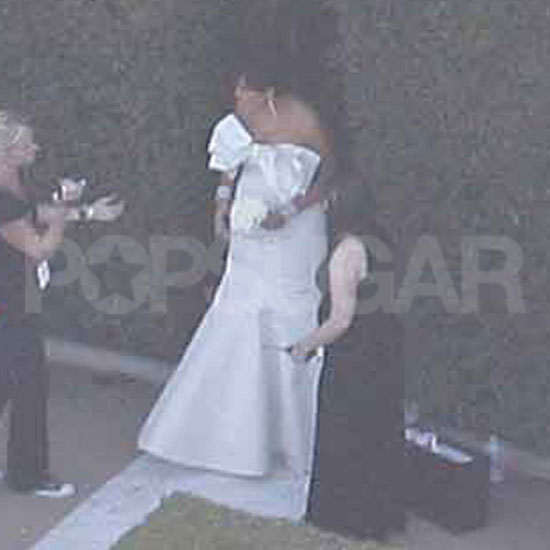 Kris Jenner in a strapless white gown at Kim Kardashian's wedding.