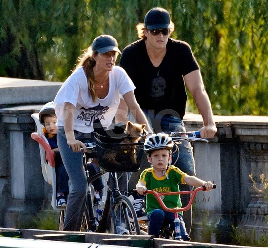 Gisele and Tom Bike to the Park With Their Boys Ahead of Jack's Birthday