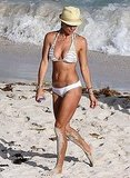 Brooke Burke in a white bikini in St. Barts.