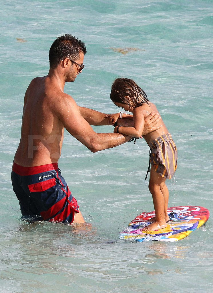 David Charvet shirtless in the ocean.