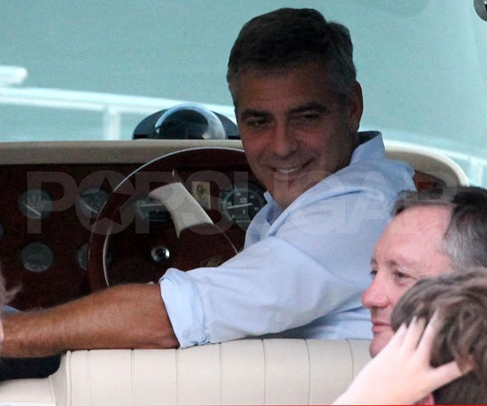George Clooney Wines, Dines, and Drives His Friends in a Boat at Lake Como