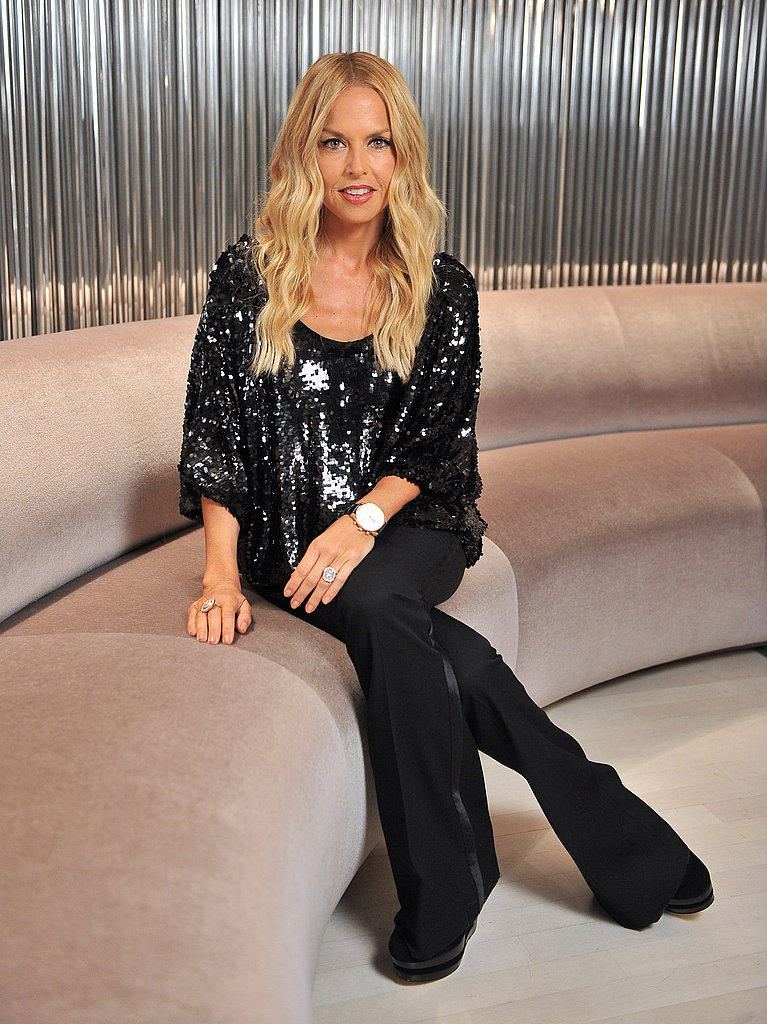Rachel Zoe wore a sequin top and tuxedo pants.