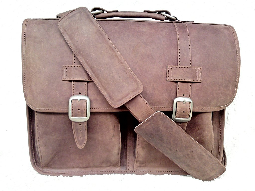 Large Dakota Brown Brief Satchel ($245)