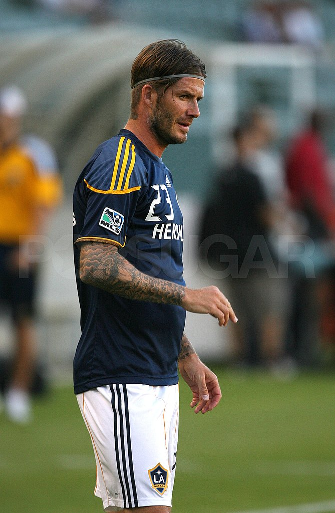 David Beckham worked up a sweat.