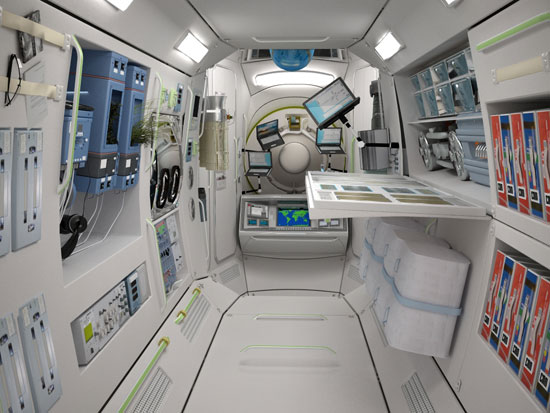 Space Station Interior — Wonder how the WiFi service is for those floating laptops.