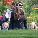 Pictures of Angelina Jolie Playing With Twins Knox and Vivienne Jolie-Pitt in Glasgow, Scotland
