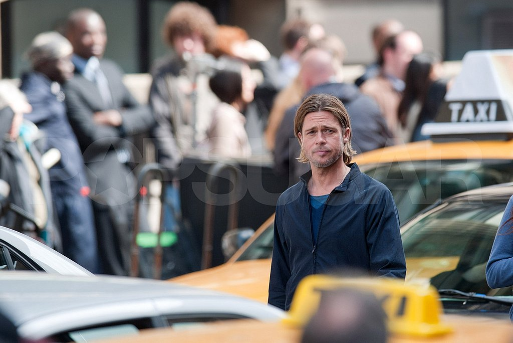 Brad Pitt before taxis on the Glasgow set of World War Z.