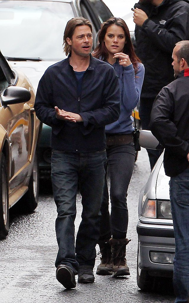 Brad Pitt hangs out on the Glasgow set of World War Z.