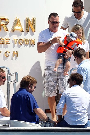 David Furnish with baby Zachary.