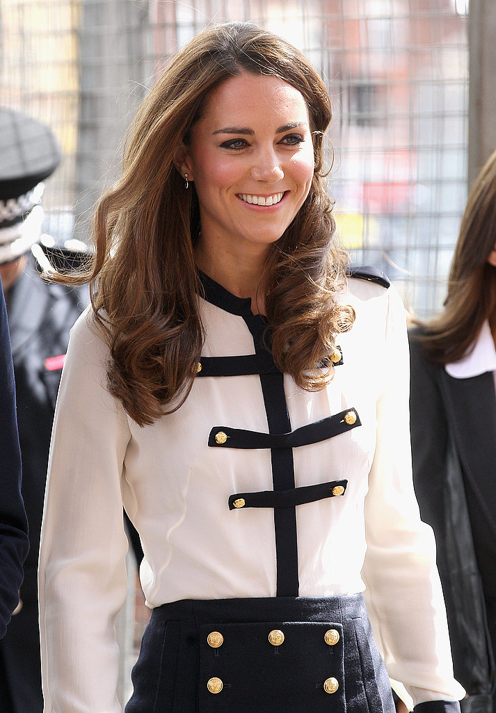 Kate Middleton in military-inspired clothes.