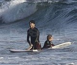 David Beckham and Brooklyn Beckham waited for a wave.