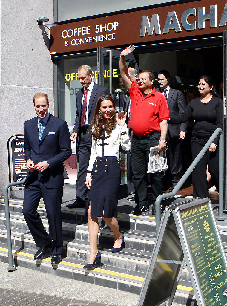 Kate Middleton and Prince William leave a coffee bar ransacked during the recent riots.