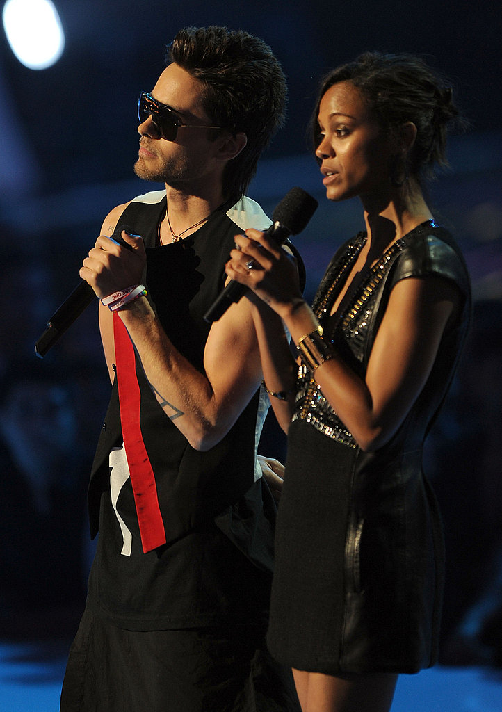 Zoe Saldana and Jared Leto at the 2011 MTV VMAs.