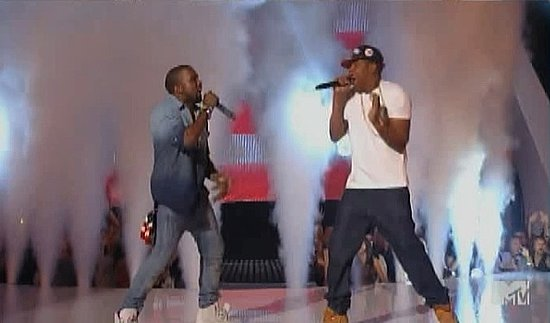 "Video: Kanye West and Jay-Z Perform ""Otis"" — a Fan Gets on Stage! — at 2011 VMAs"