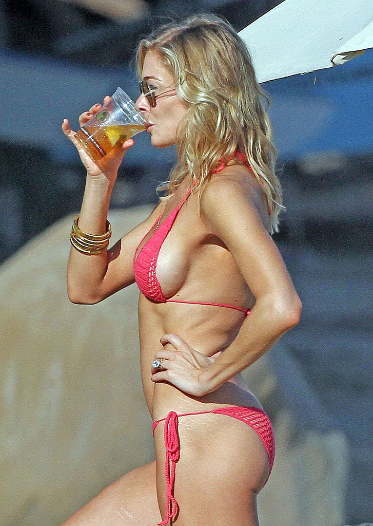 LeAnn wore a tiny, red bikini.