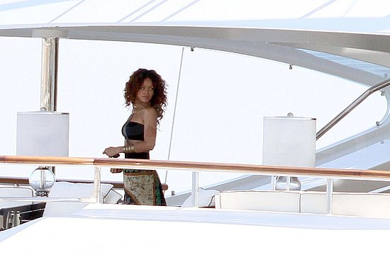 Rihanna relaxed on deck.