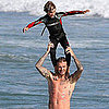 Shirtless David Beckham Swimming In Malibu With Family