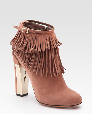 B Brian Atwood Pembra Suede Fringe Ankle Boots ($500)