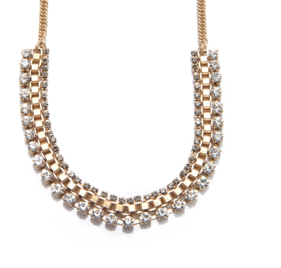 Rhinestones and gold finish that would dress up your party look, or lend a bit of decadent contrast to your worn chambray shirt.   Rachel Roy Cup Chain Necklace ($70)
