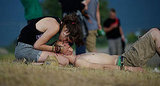 A couple shared an intimate moment at the Roskilde Festival.