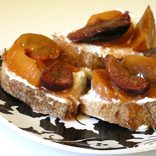 Roasted Apricots and Figs on Bread