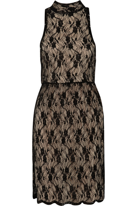 A ladylike sheath that gets a vampy makeover in black and nude lace. Alice + Olivia Beaded Lace Dress ($600)