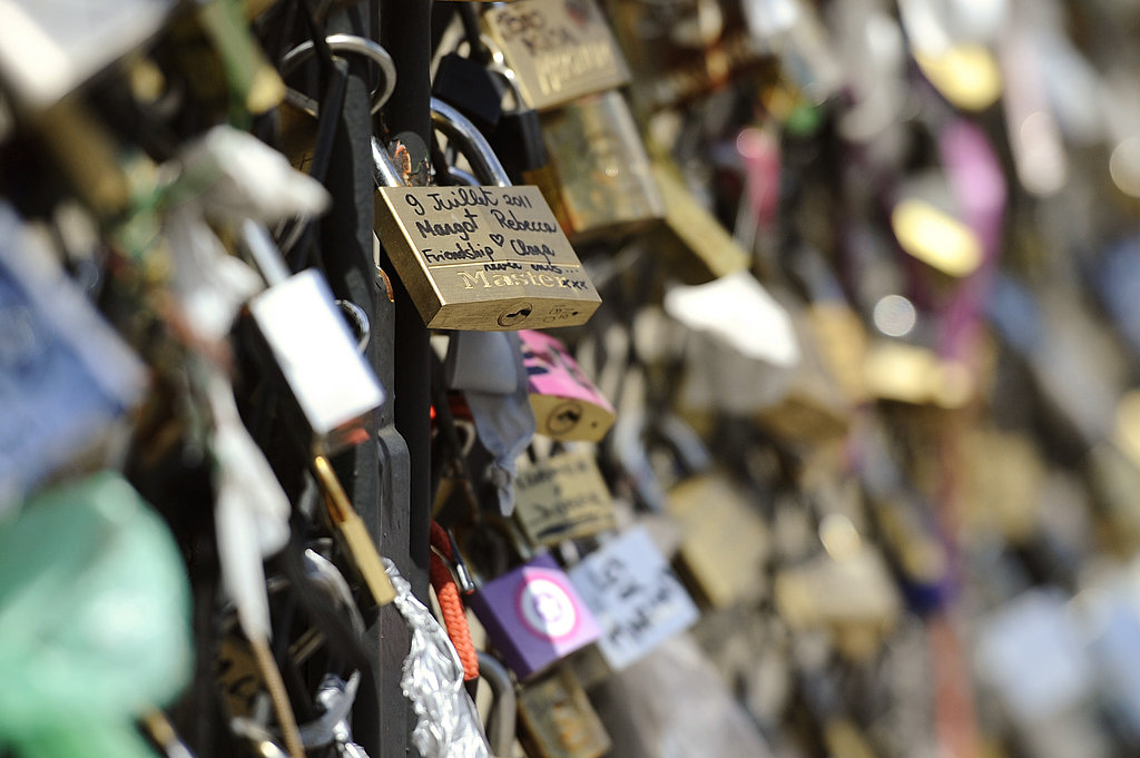 Love padlocks cover the Archeveche bridge in Paris.