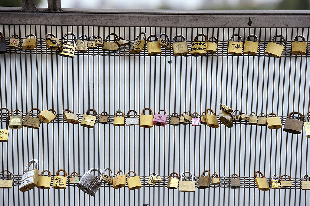 Locks of love on the Leopold Senghor bridge in Paris.