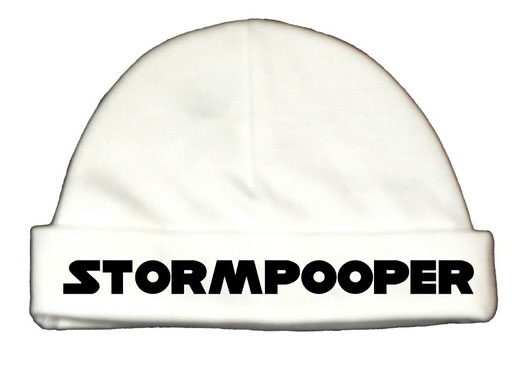 Give fair, yet adorable, warning to all future babysitters in a Stormpooper hat ($6).