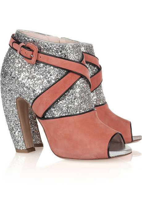 Miu Miu Glitter and Suede Peep-Toe Booties ($890)