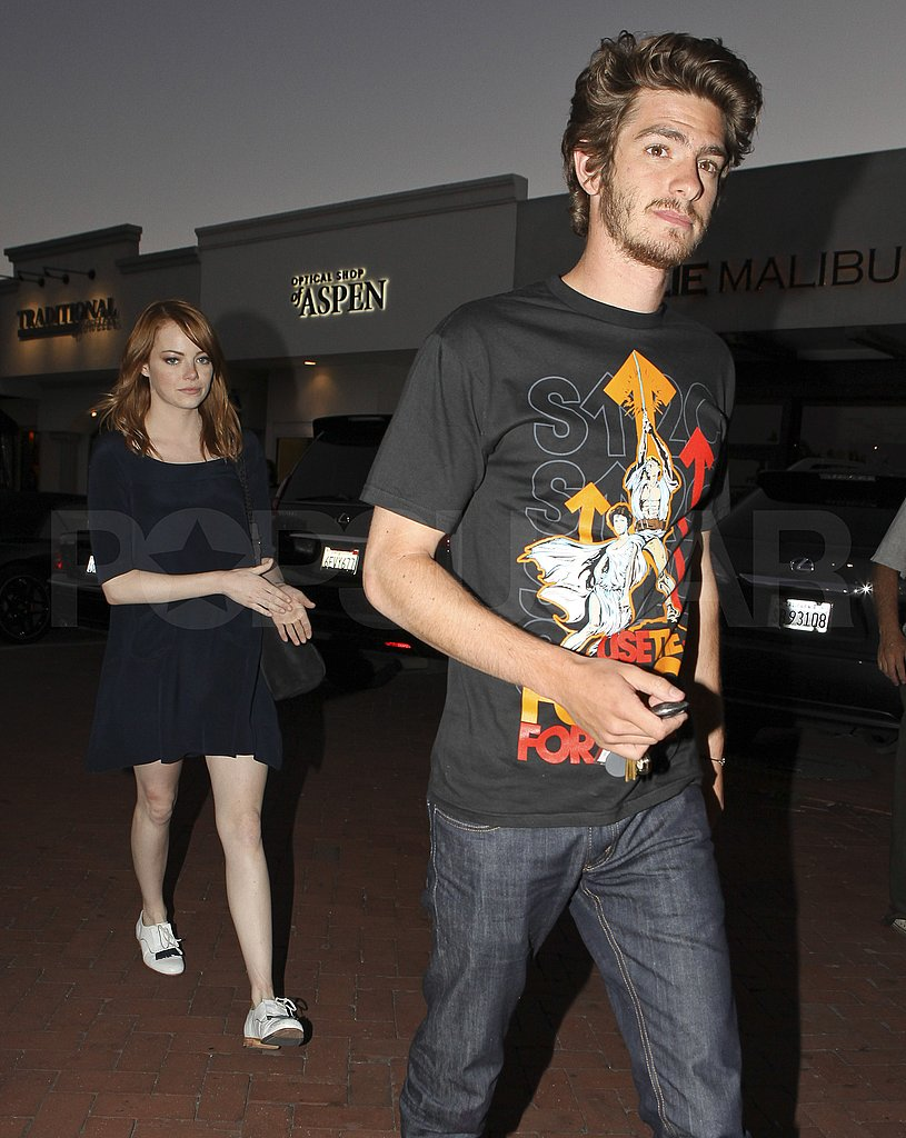 Emma Stone was a few steps behind Andrew Garfield.