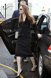 Angelina Jolie wears all black in London.