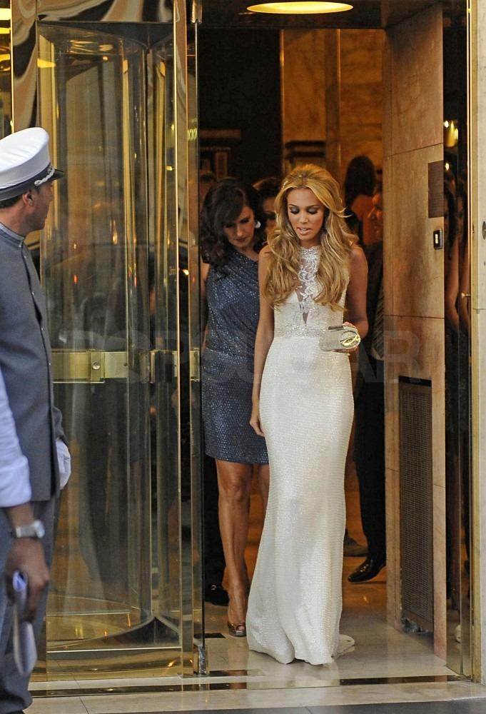 Petra Ecclestone wore a white gown to her rehearsal dinner.