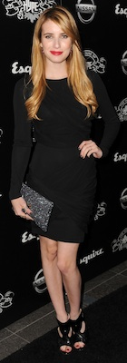 Emma Roberts in a Black Alice and Olivia Shift Dress