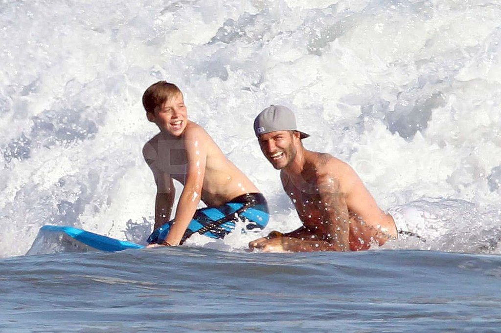 David Beckham shirtless with his kids in Malibu.