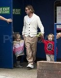 Brad Pitt with twins Knox Jolie-Pitt and Vivienne Jolie-Pitt.