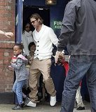 Brad Pitt leaves a theater with Knox Jolie-Pitt, Pax Jolie-Pitt, Zahara Jolie-PItt, and Vivienne Jolie-Pitt.