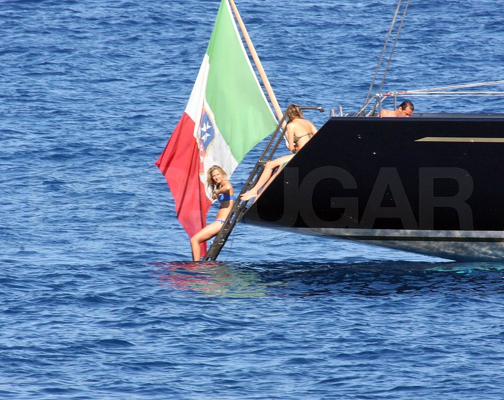 The yacht flew a large Italian flag off the back.