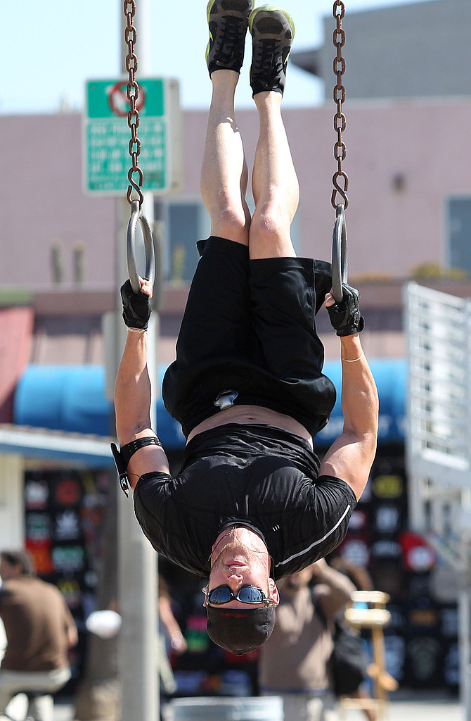 Kellan held on tight to the rings.