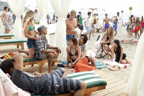 Tristan Wilds as Dixon, Gillian Zinser as Ivy, Manish Dayal as Raj, Trevor Donovan as Teddy, Jessica Stroup as Silver, Michael Steger as Navid, AnnaLynne McCord as Naomi, and Shenae Grimes as Annie Wilson on 90210.  Photo courtesy of The CW