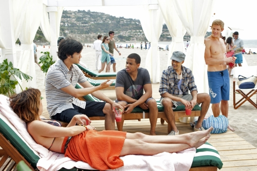 Tristan Wilds as Dixon, Manish Dayal as Raj, Trevor Donovan as Teddy, Jessica Stroup as Silver, and Michael Steger as Navid on 90210.  Photo courtesy of The CW