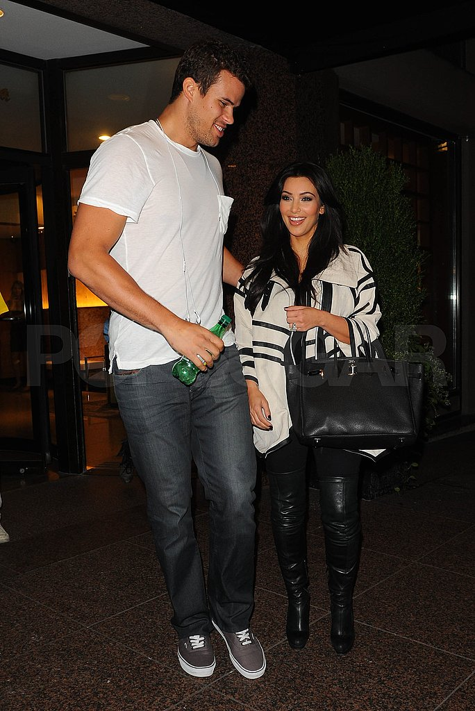 Kris Humphries and Kim Kardashian smile in NYC.