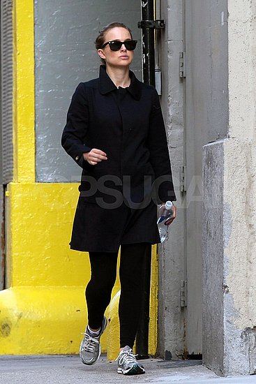 New mom Natalie Portman leaves the gym.