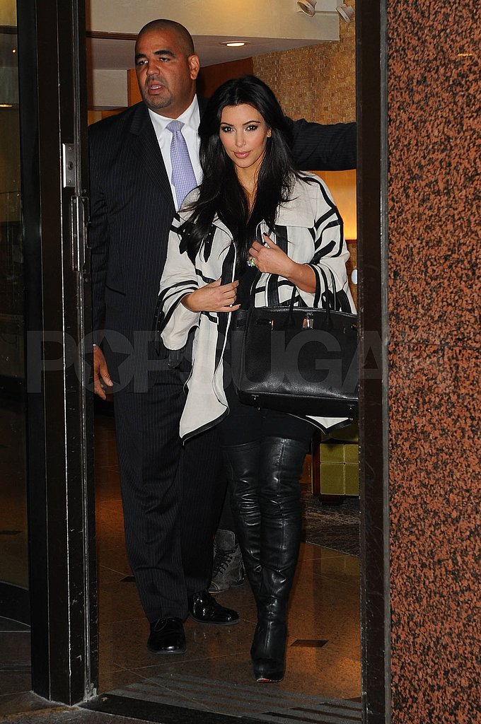 Kim Kardashian in black and white in NYC.