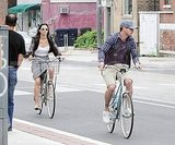 Justin Timberlake riding bikes with Jessica Biel in Toronto.